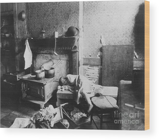 1896 Wood Print featuring the photograph New York: Tenement Life by Granger