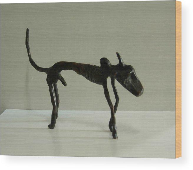 Bull Wood Print featuring the sculpture No. 130 by Vijayan Kannampilly