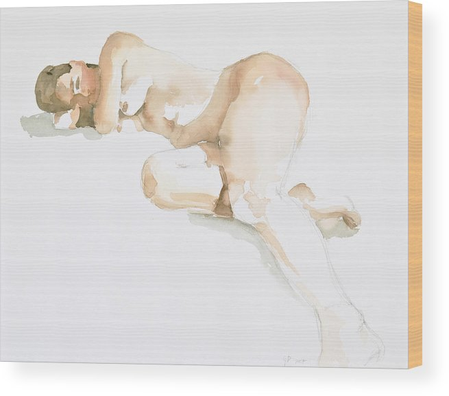 Nude Woman Wood Print featuring the painting Nude by Eugenia Picado