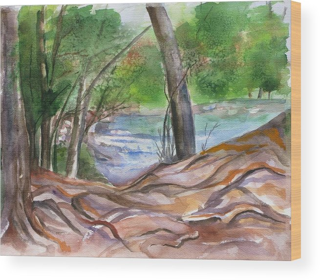 Landscape With Trees Wood Print featuring the painting Oak Creek In Sedona by Kathy Mitchell