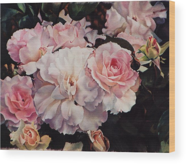 Flowers Wood Print featuring the painting Old Roses by Marion Hylton