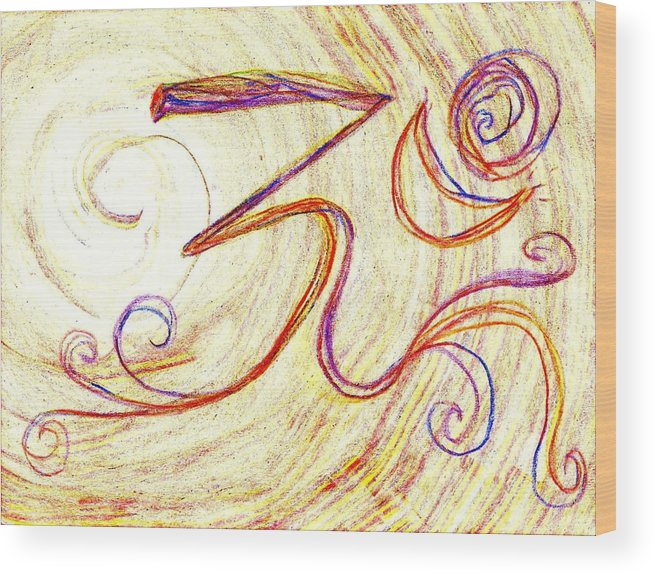 Om Wood Print featuring the painting Om by Chandelle Hazen