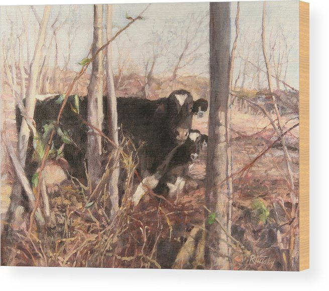 Cow Wood Print featuring the painting Onlookers No.2 by Robert Tutsky