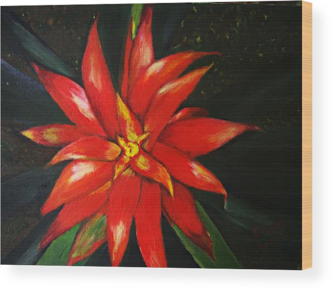 Floral Wood Print featuring the painting Orange Blossom by Julie Lamons