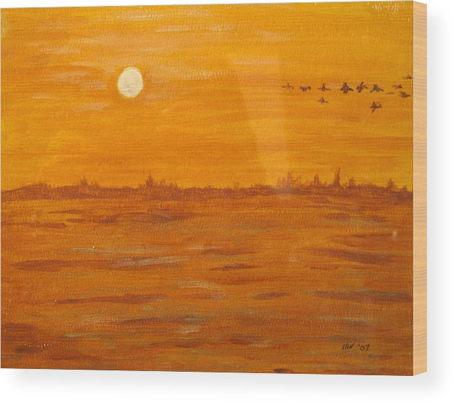 Orange Wood Print featuring the painting Orange Ocean by Ian MacDonald