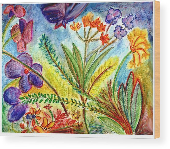 Flowers Wood Print featuring the painting Orchids And More by Julie Richman