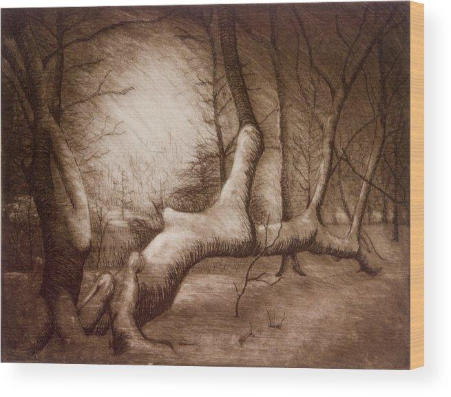 Otsiningo Park Wood Print featuring the painting Otsiningo Park Binghamton Ny by John Clum