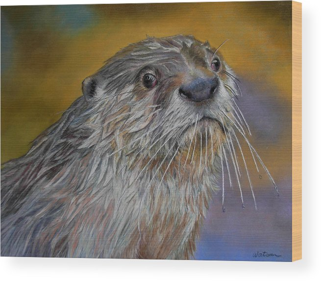 River Otter Wood Print featuring the painting Otter Or Not by Ceci Watson