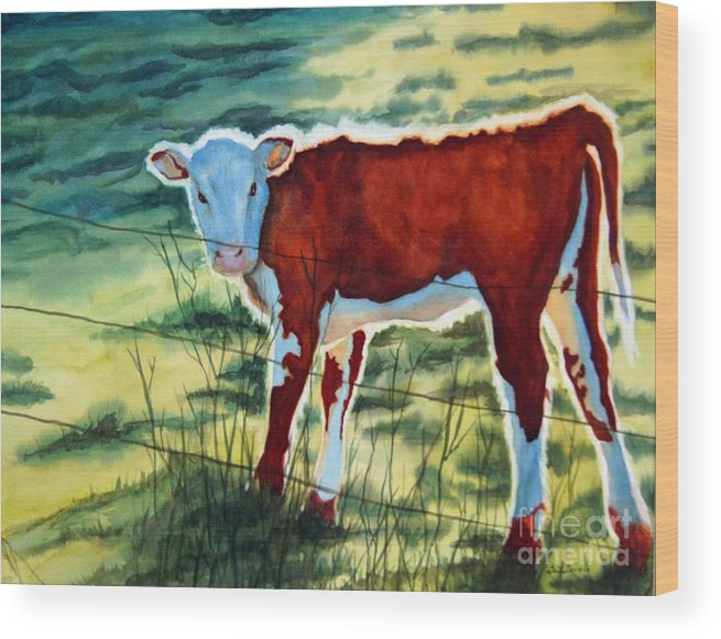 Animal Wood Print featuring the painting Outstanding In His Field by Gail Zavala