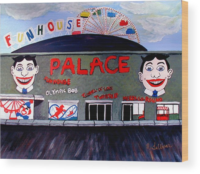 Tillie Wood Print featuring the painting Palace Amusements Asbury Park Nj by Norma Tolliver