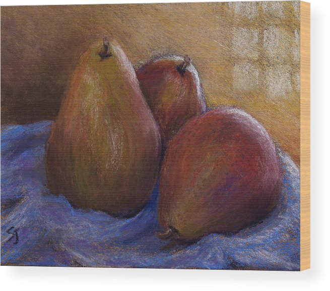 Still Life Wood Print featuring the pastel Pears In Natural Light by Susan Jenkins