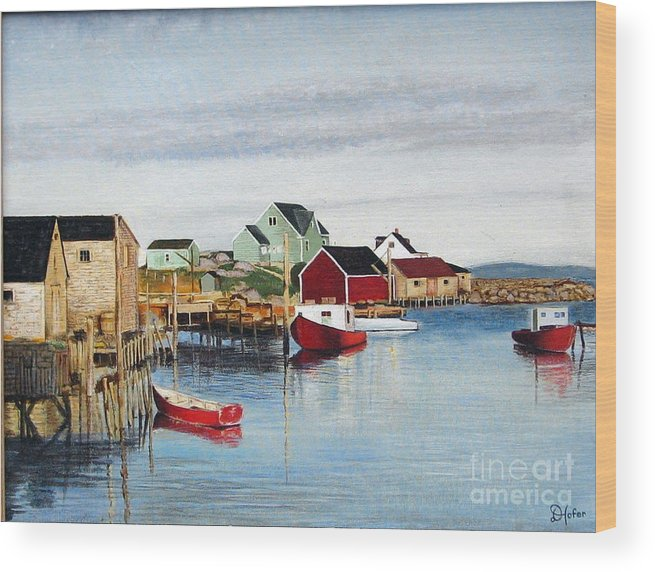 Seascape Wood Print featuring the painting Peggy's Cove by Donald Hofer