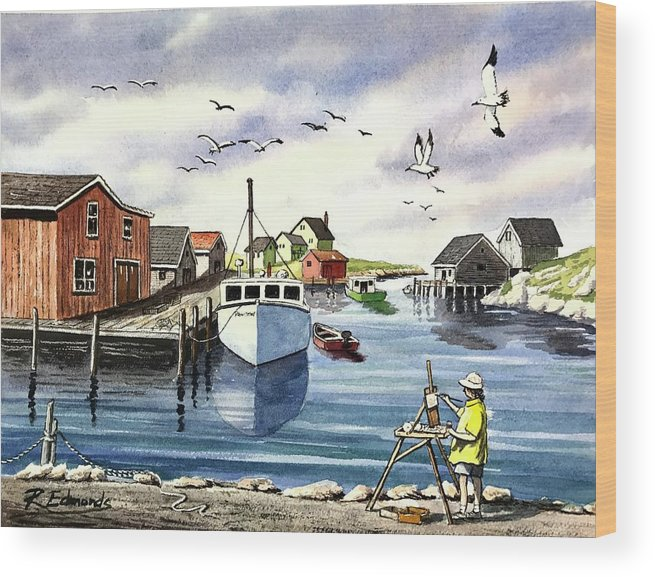 Peggy's Cove Wood Print featuring the painting Peggy's Cove Harbor by Raymond Edmonds