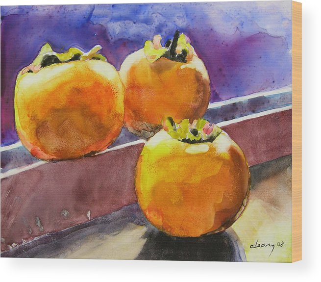 Melody Cleary Wood Print featuring the painting Persimmon by Melody Cleary