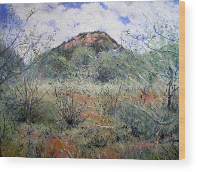 Botswana Wood Print featuring the painting Phakalane Botswana 2008 by Enver Larney