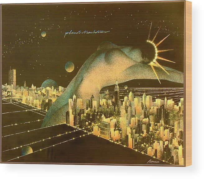 Female Wood Print featuring the painting Planet Manhattan by Gary Kaemmer