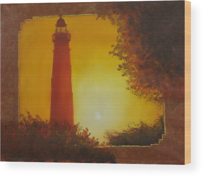 Lighthouse Wood Print featuring the painting Ponce Inlet Lighthouse by Darlene Green