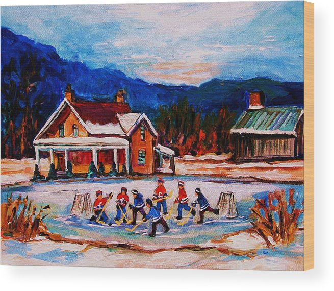 Hockey Wood Print featuring the painting Pond Hockey by Carole Spandau