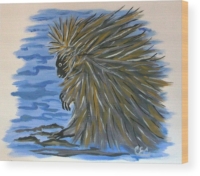 Porcupine Wood Print featuring the painting Porcupine by Carolyn Cable