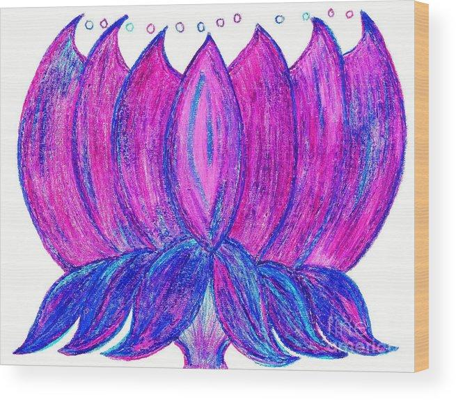 Purple Lotus Wood Print featuring the pastel Purple Lotus by Chandelle Hazen