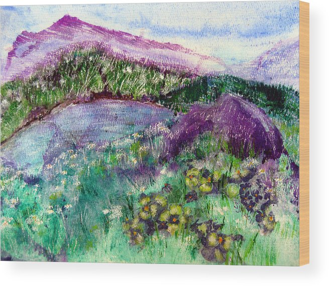 Purple Mountains Wood Print featuring the painting Purple Mountains by Sarah Hornsby
