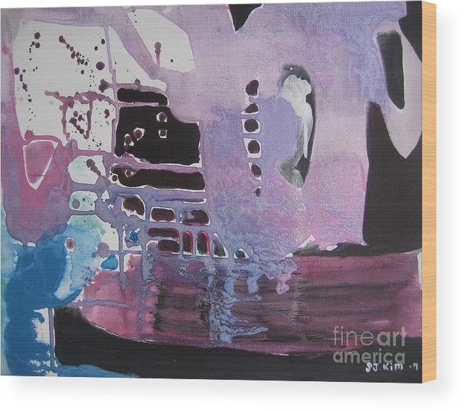 Abstract Paintings Wood Print featuring the painting Purple Seascape by Seon-Jeong Kim