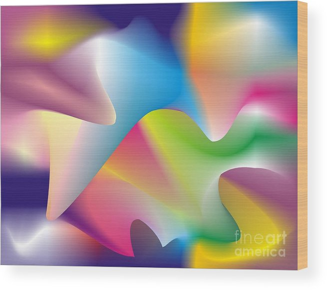 Abstract Wood Print featuring the digital art Quantum Landscape 2 by Walter Neal