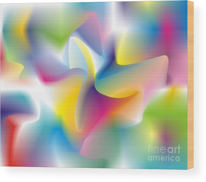 Abstract Wood Print featuring the digital art Quantum Landscape 4 by Walter Oliver Neal