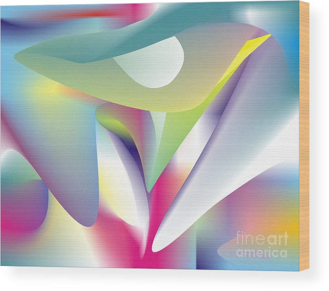 Abstract Wood Print featuring the digital art Quantum Landscape 5 by Walter Oliver Neal
