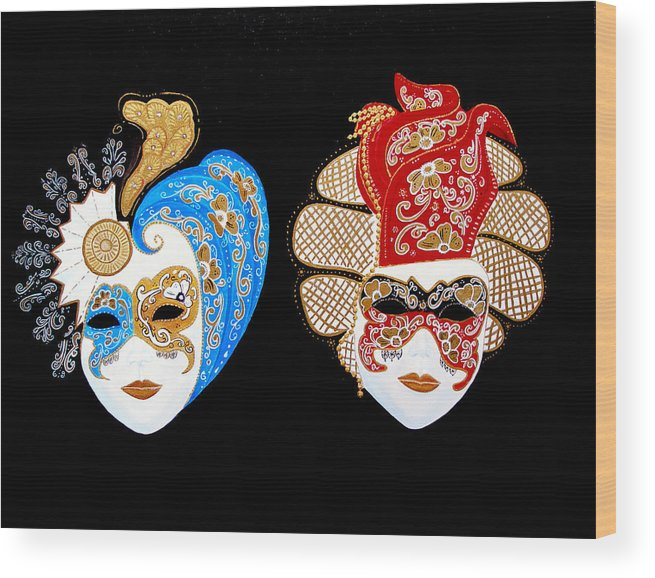 Venice Wood Print featuring the painting Ready For The Venice Carnival by JoeRay Kelley