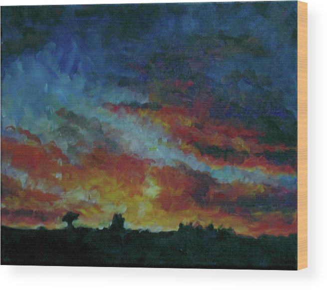 Skyscape Wood Print featuring the painting Red Orange Evening by Susan Moore