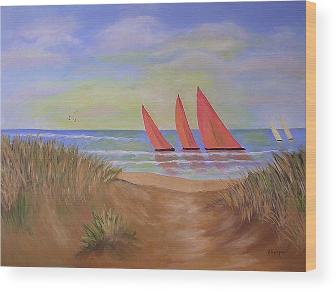 Sails Wood Print featuring the painting Red Sails by Barbara Harper