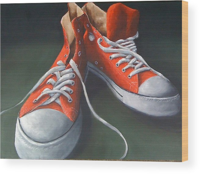 Still Life Wood Print featuring the painting Red Shoes by Sherry Hendrick