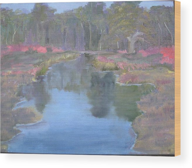 Landscape Wood Print featuring the painting Reflection by Sheryl Sutherland