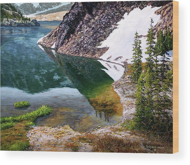 Ellery Lake Wood Print featuring the painting Reflections In Ellery by Donald Neff