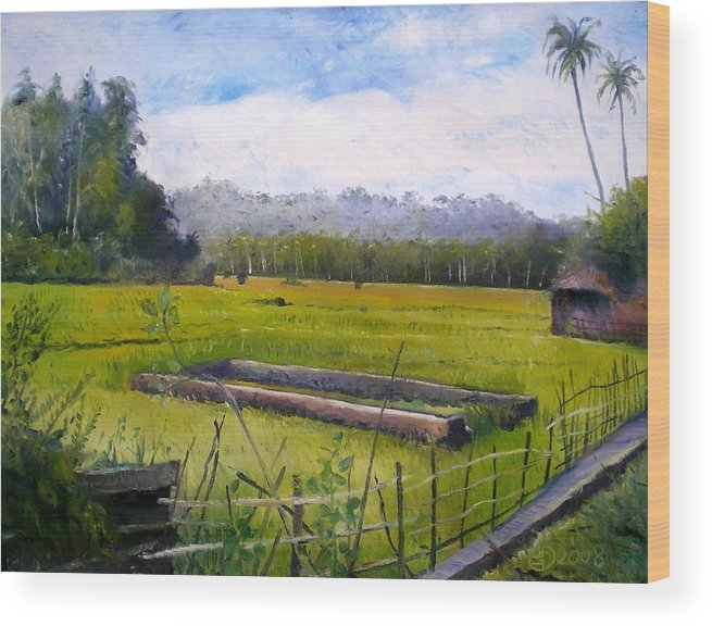 Sumatra Wood Print featuring the painting Rice Fields At Laaiy Krui Lampung Sumatra Indonesia 2008 by Enver Larney