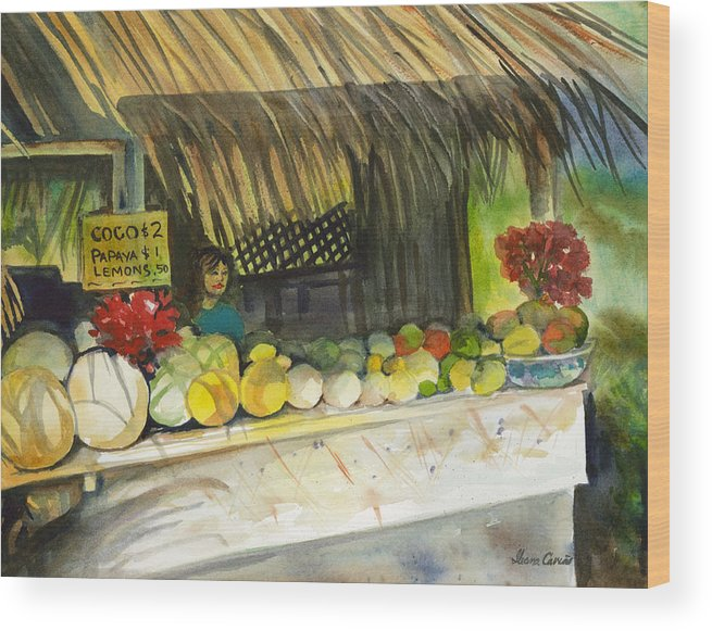 Roadside Stand Selling Tropical Fruits Wood Print featuring the painting Roadside Fruit Stand by Ileana Carreno