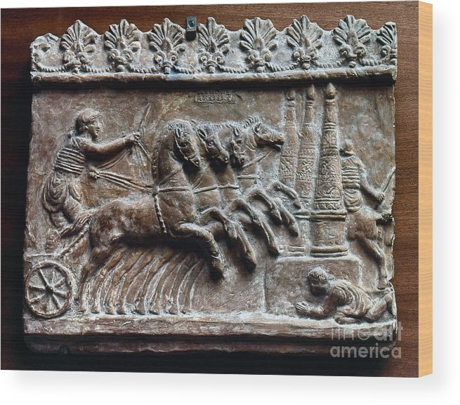 2nd Century Wood Print featuring the photograph Roman Relief: Chariot Race by Granger