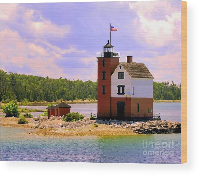 Mackinac Island Wood Print featuring the painting Round Island Lighthouse by Betsy Foster Breen
