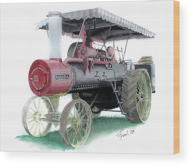 Tractor Wood Print featuring the painting Russell Steam Tractor by Ferrel Cordle