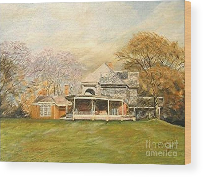 Landscape Painting Sagamore Hill. Wood Print featuring the painting Sagamore Hill by Nicholas Minniti