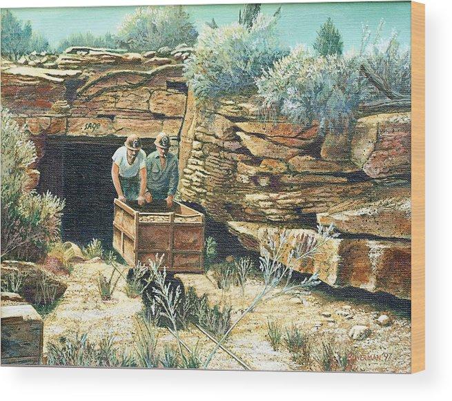 Uranium Mining Wood Print featuring the painting Sage Mine by Lee Bowerman