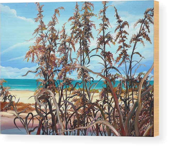 Ocean Painting Sea Oats Painting Beach Painting Seascape Painting Beach Painting Florida Painting Greeting Card Painting Wood Print featuring the painting Sea Oats by Karin Dawn Kelshall- Best