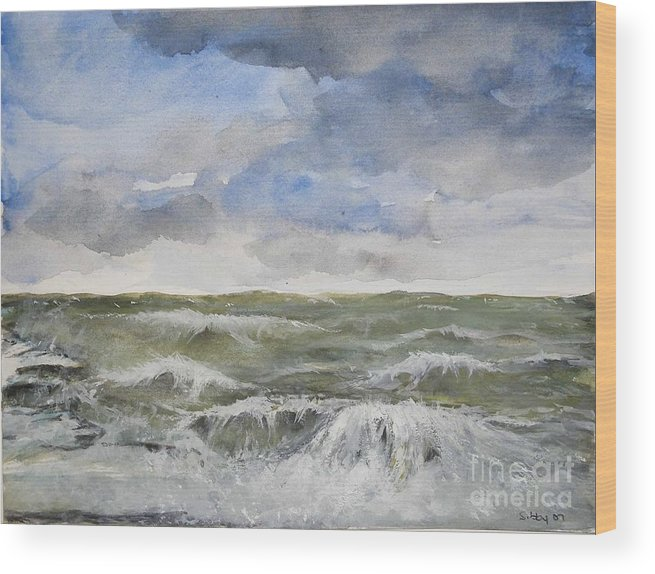Seascape. Coast Wood Print featuring the painting Sea Storm by Sibby S