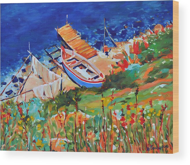 Seascape Wood Print featuring the painting Seacoast by Iliyan Bozhanov