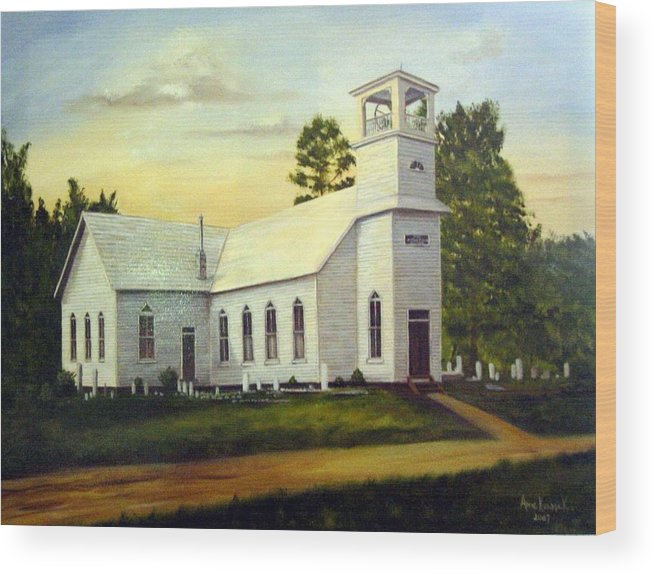 Church Wood Print featuring the painting Seaford Zion Methodist Church by Anne Kushnick