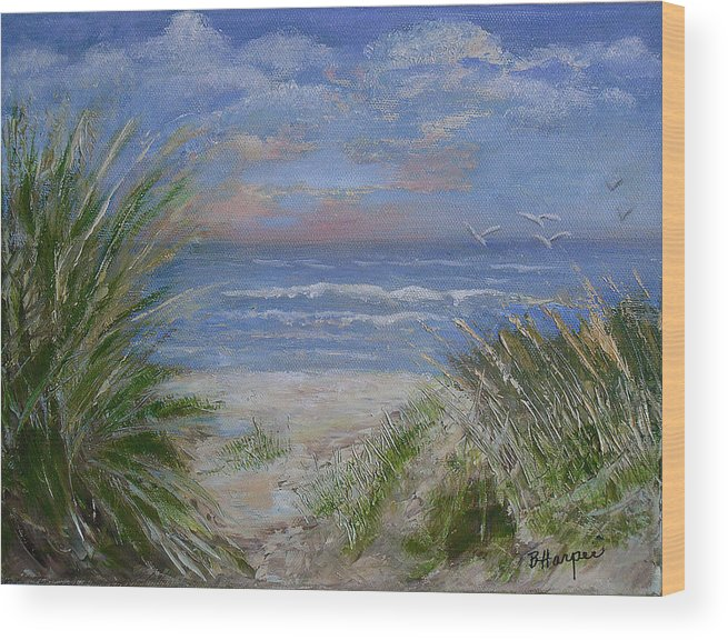 Seagrasses Wood Print featuring the painting Seagrasses At Sunrise by Barbara Harper