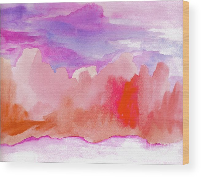 Purple Wood Print featuring the painting Sedona Sky by Vicki Lynn Sodora