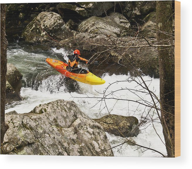 Rapids Wood Print featuring the photograph Shooting The Rapids by Douglas Barnett