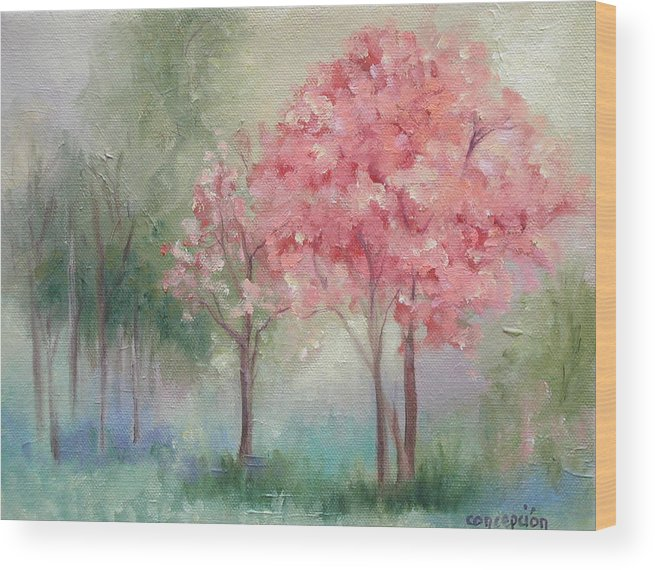 Spring Wood Print featuring the painting Sign Of Spring by Ginger Concepcion
